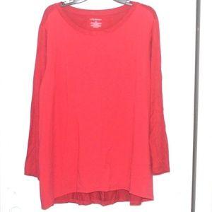 Lane Bryant Red Long Sleeve Shirt Blouse 18/20